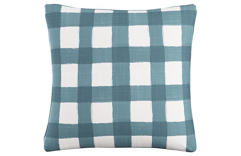 Beacon 20x20 Pillow, Teal/White Linen