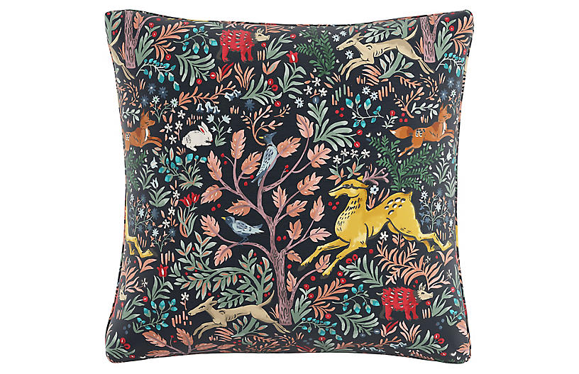 Garden Frolic 20x20 Pillow, Navy/Multi Linen