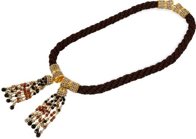 Valentino Brown Rhinestone Rope Belt