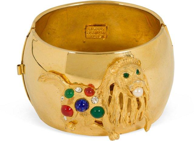 Pierre Balmain Lion Jewel Cuff Bracelet