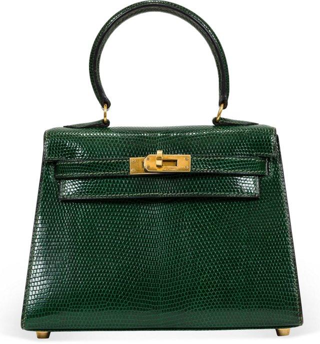 Hermès Emerald Lizard Kelly Bag 20