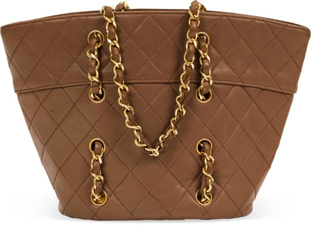 Chanel Brown Lambskin Quilted Bucket Bag