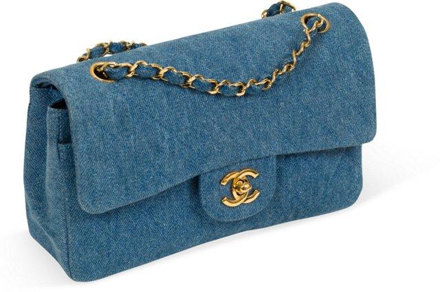 Chanel Denim Double Flap Bag