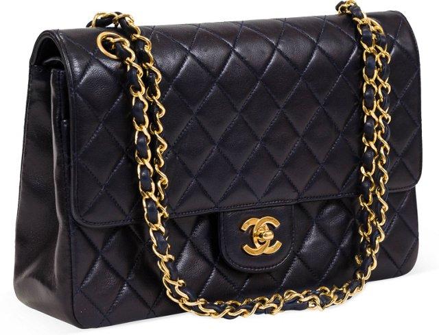 Chanel Navy Lambskin Double Flap Bag