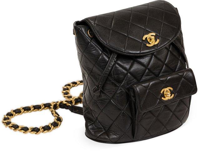 Chanel Black Lambskin Backpack