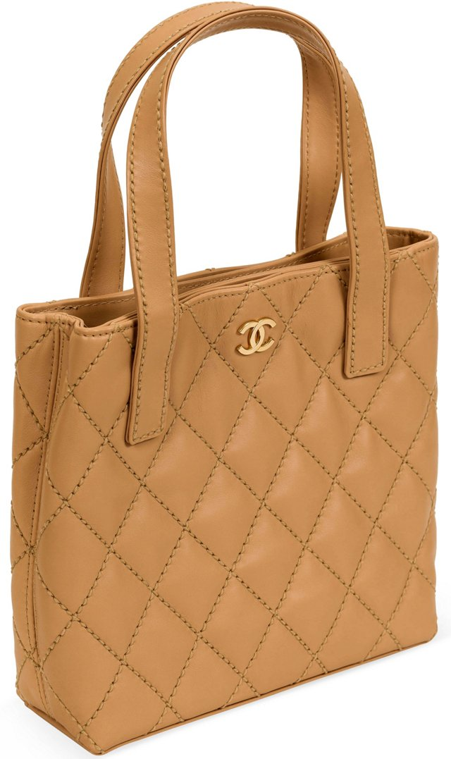 Chanel Camel Quilted Lambskin Tote