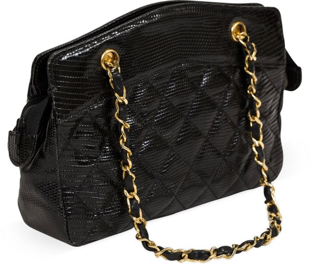 Chanel Black Lizard Double Strap Bag