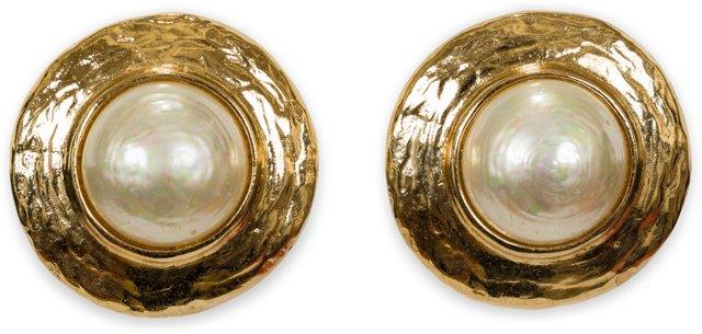 1980s YSL Faux-Pearl Clip Earrings