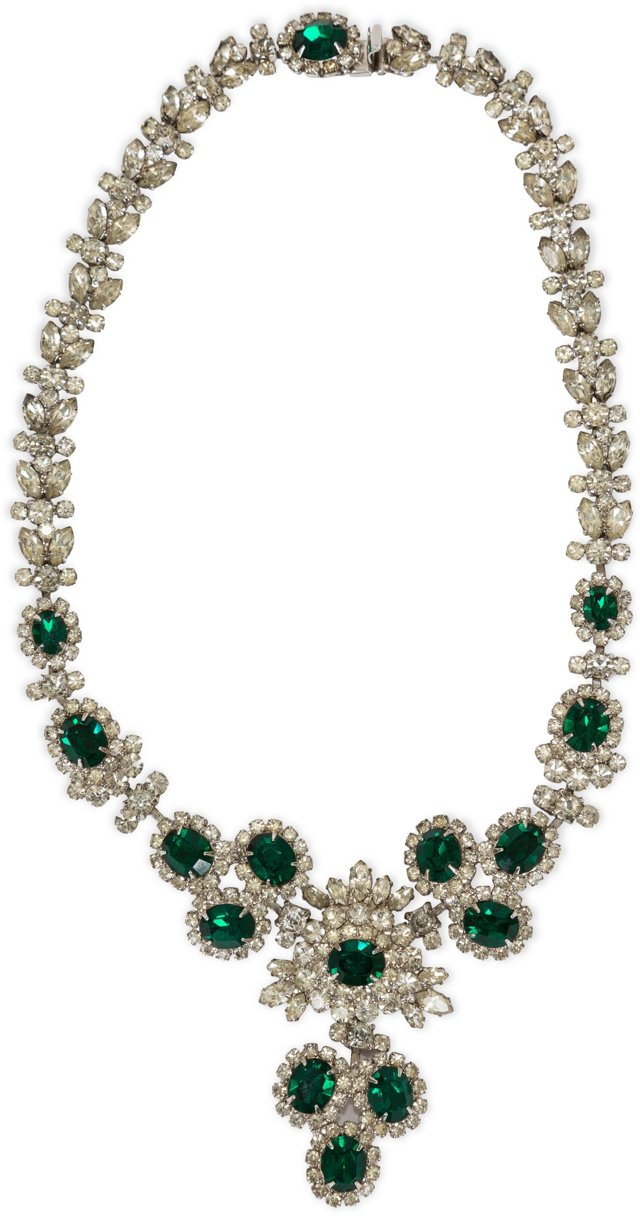 1960s Napier Emerald Rhinestone Necklace