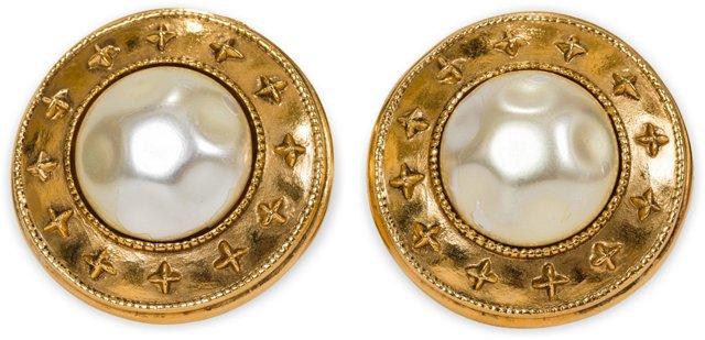 Chanel Faux-Pearl Button Earrings