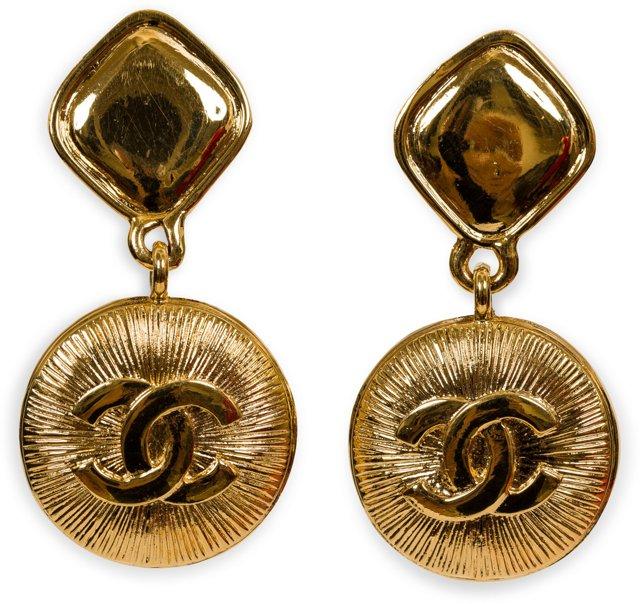 Chanel CC Logo Drop Earrings