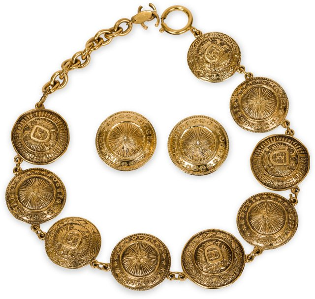 Chanel Roman Coin Necklace & Earrings