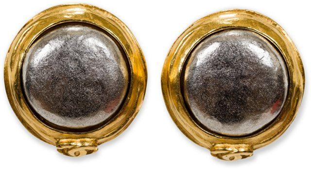 Chanel Hammered Gold & Silver Earrings