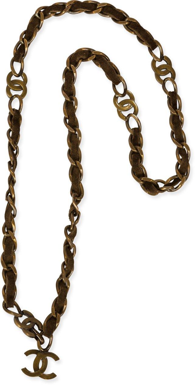 Chanel Gunmetal & Suede Belt
