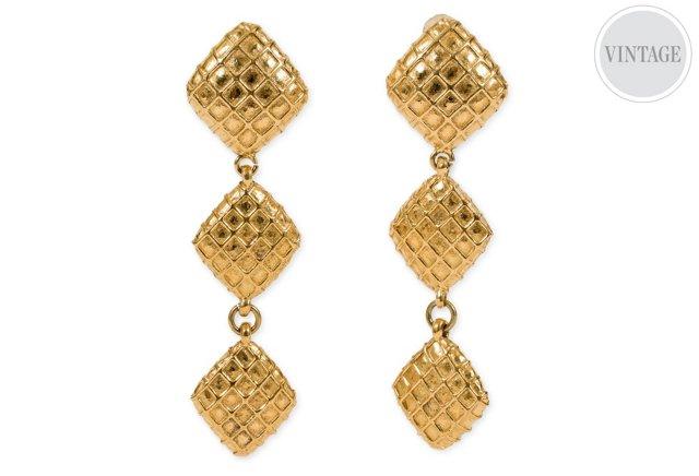 Chanel Waffle Drop Earrings