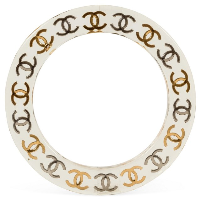Chanel Lucite Bangle w/ Logo