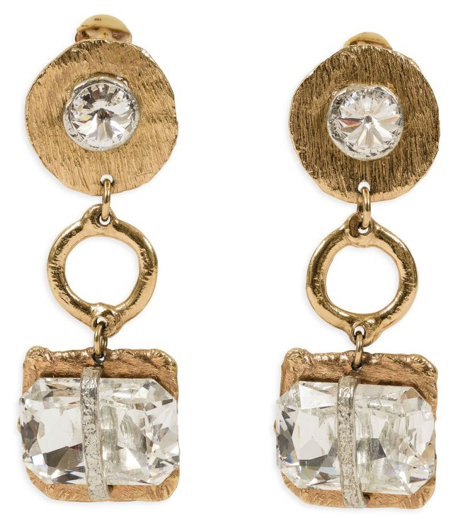 Jensen Gold Earrings w/ Glass Crystals