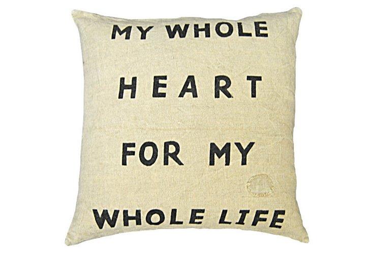 My Whole Heart Linen Pillow