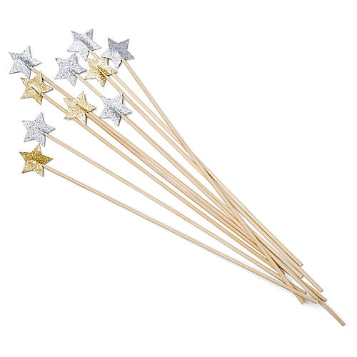 S/10 Star Stir Sticks, Gold/Silver