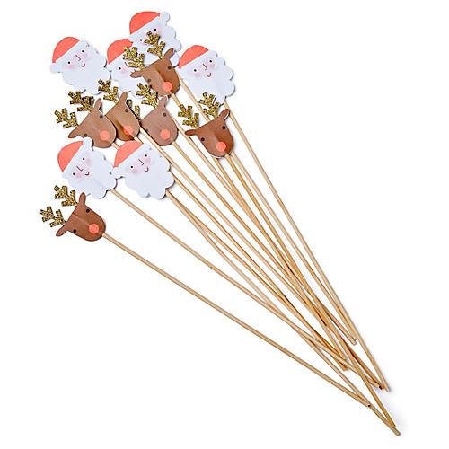 S/12 Santa Swizzle Stir Sticks, Brown/Multi