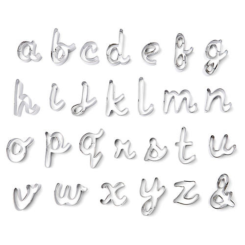Alphabet Cookie Cutters, Silver
