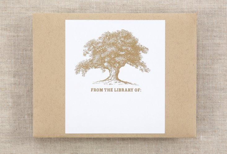 S/15 Bookplates, Vintage Gold Oak Tree