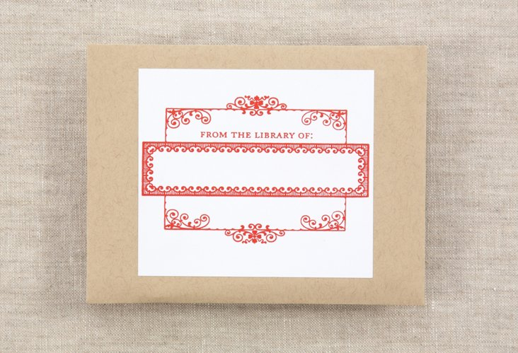 S/15 Bookplates, Red Scroll