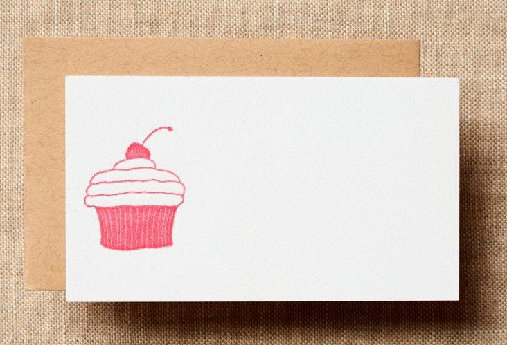 Set of 12 Pink Cupcake Petit Cards