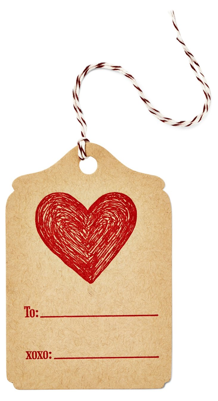S/12 Letterpress Gift Tags, Carved Heart