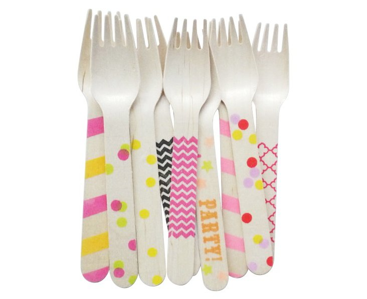S/40 Assorted Wooden Forks, Multi
