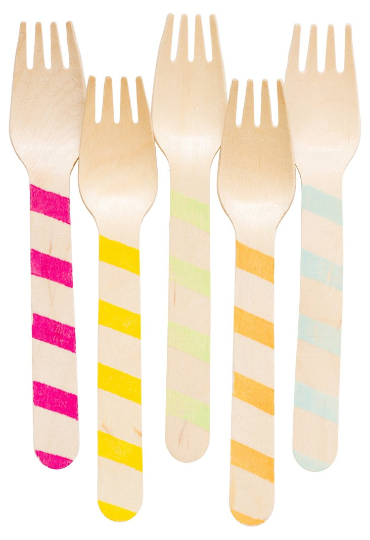 S/40 Assorted Wooded Forks, Stripes