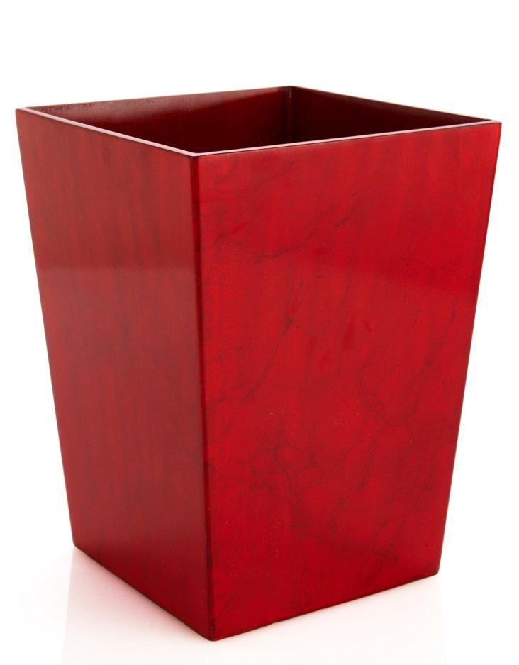 Red Goatskin Wastebasket