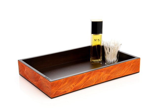 Orange Corn Husk Vanity Tray