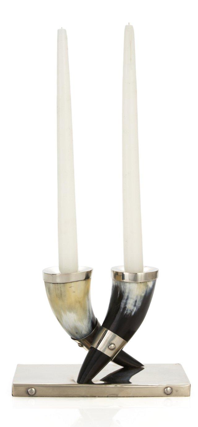 S/2 Alpaca Natural Horn Candleholders