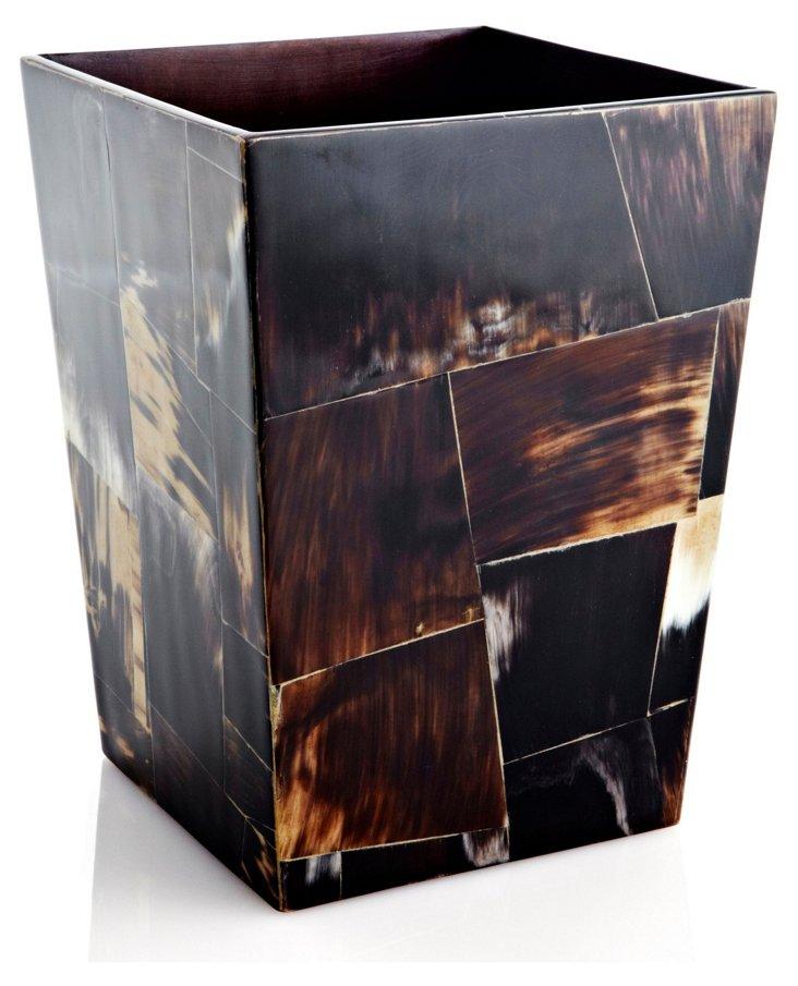 Horn Veneer Wastebasket, Black