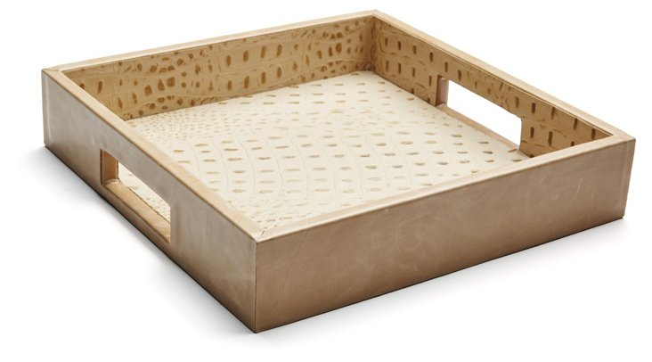 """12"""" Leather Tray, Beige"""