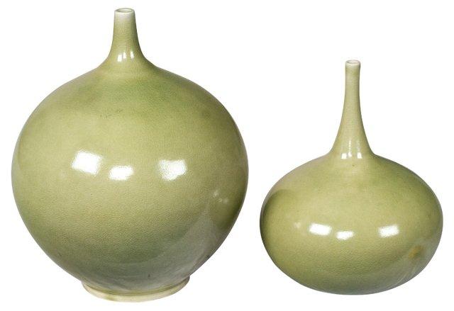 Ceramic Crackled Gourds, Set of 2