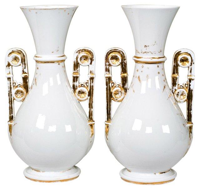 Antique French Porcelain Vases, Pair