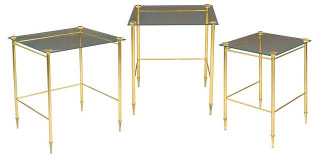 Glass & Brass Nesting Tables, Set of 3