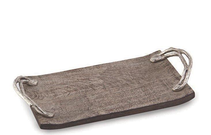 "15"" Weathered Wood Handled Tray, Gray"