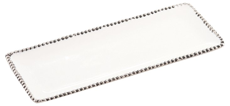 Hobnail Rectangular Tray, Ivory