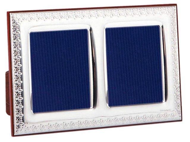 Sterling Fleur-de-Lis Double Frame, 2x3