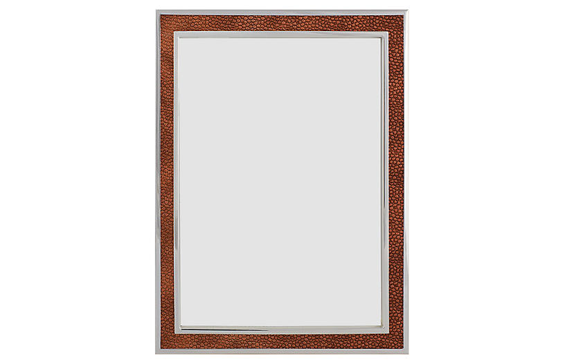 Villere Faux-Shagreen Picture Frame, Brown