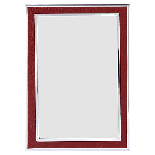 Villere Faux-Shagreen Picture Frame, Red