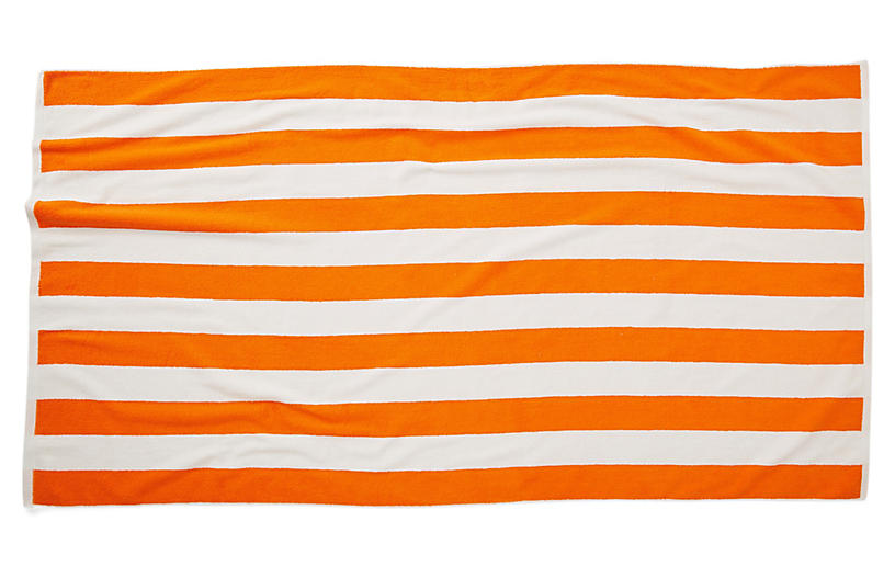 Cabana Stripe Beach Towel Orange Poolside Style Outdoor
