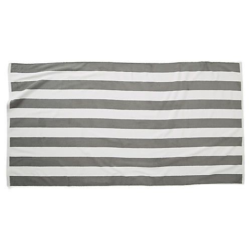 Cabana Stripe Beach Towel, Pewter