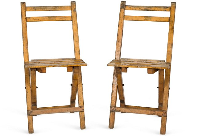 1930s French Train Station Chairs, Pair