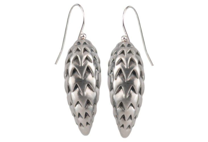 Rosa Earrings, Oxidized SS