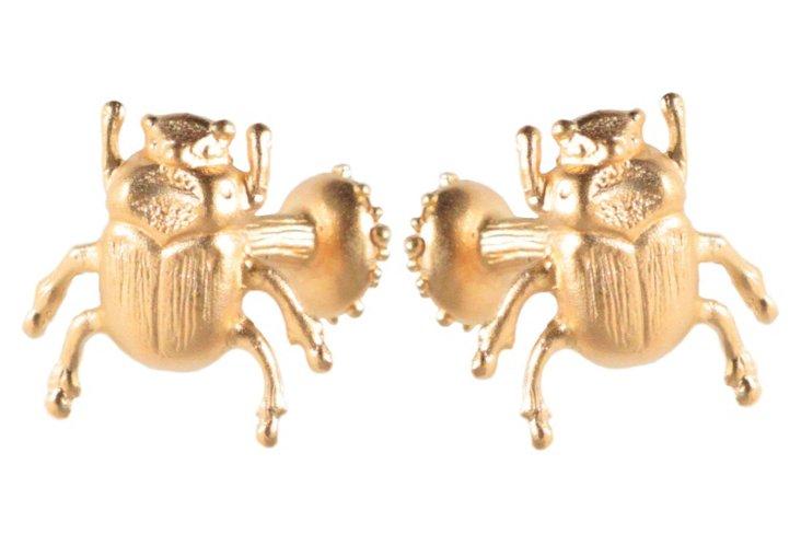 Scarab Cufflinks, Gold