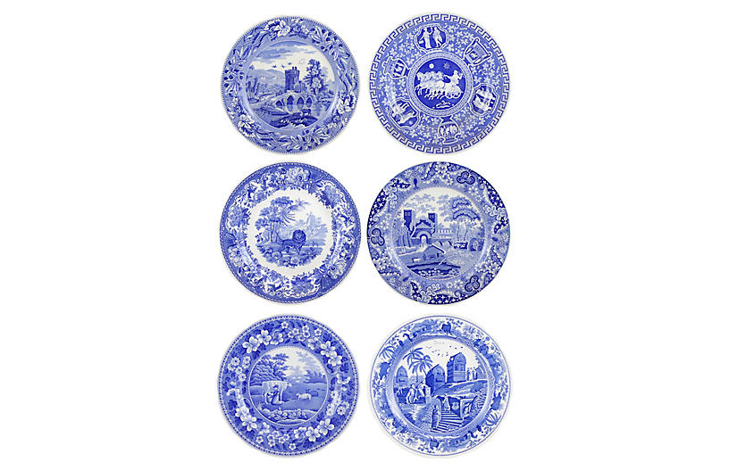 Traditions Wall Plates, Blue/White
